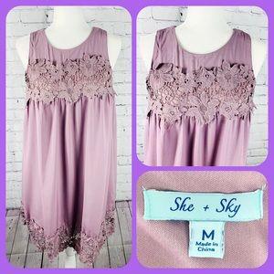 She + Sky Mauve Purple Sleeveless Lace Flowy Dress